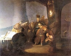 Judas Returning the Thirty Silver Pieces by Rembrandt